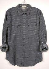 VAN HEUSEN Womens button up Shirt Roll up Sleeve Gray White Polka Dot SZ M