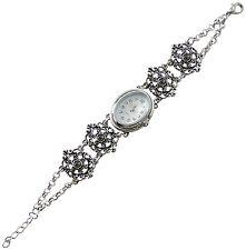 Trachtenschmuck Dirndl Armband Uhr Antikstil Armbanduhr Kristall Hematite Jet