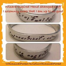 Handmade Harry Potter I Solemnly Swear That I Am Up To No Good Hand Stamped Cuff