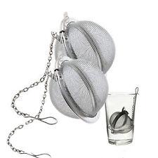 2x Stainless Steel Sphere Locking Spice Tea Ball Strainer Mesh Infuser Filter xp