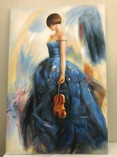 Oil on Canvas Painting - Woman in Blue Dress with Violin
