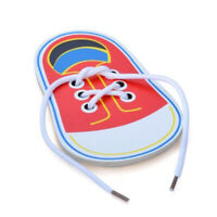 Wooden Lacing Shoe Toy Learn to Tie Laces Montessori Early Teaching Toy DD