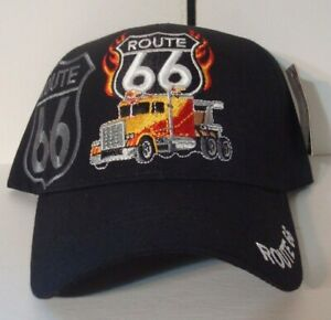 Route 66 and Semi Truck EMBROIDERED BASEBALL STYLE HAT CAP BLACK