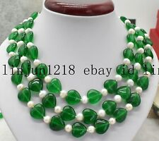 14x14mm Green Emerald 7-8mm White South Pearl 3 Row Gems Necklace 18-20'' AAA