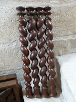 19TH French Antique Set 4x Spiral Turned Barley Twist Oak Wood Pillar Column 25""