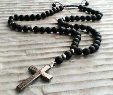 Halskette Kreuz Onyx perlen Lava Hämatit Schmuck Necklace Rosenkranz fashion man