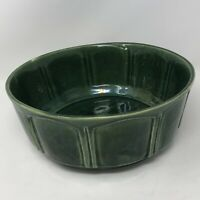 """Vintage Casserole Dish Made USA Green Pottery 9.5"""" x 4"""" Serving Dish Bowl"""
