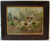 2 ENGLISH POINTER DOGS ANTIQUE OIL PAINTING OUTDOOR SCENE
