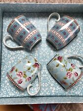 PIP STUDIO HOME Floral Collection Gift Box 4 pc Blue Small 5oz Coffee TEA MUGS
