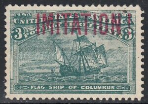 USA 1893 3c Columbian 232 SCARCE old Forgery by Krueger, Counterfeit, Fake.