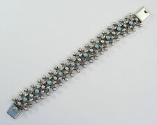 """925 sterling silver heavy woven bracelet with turquoise 1"""" wide"""