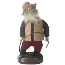 Fisherman Collectible Statue Figurine Fish Pole Beard Felt Hat Wood Base