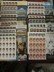 BEAUTIFUL!! A COMPLETE SET OF 20 US LEGENDS OF HOLLYWOOD STAMP SHEETS