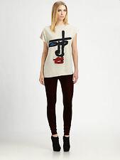 Jean Paul Gaultier VELVET BURGANDY RED Long leggings Pants I40/US6/UK8