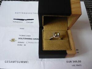 Original Thomas Sabo Ring  Gr. 56, grüner Prasiolith, Diamanten , 18 Karat RG