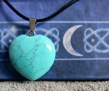 Turquoise necklace heart crystal healing spiritual support