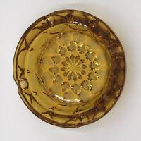 "Vintage Heavy Round Amber Glass Ashtray Cigar Cigarette 6-1/8"" In Diameter"