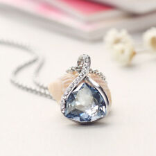 White Gold Plated Grayish Blue Austria Crystal Chain Necklace Pendant Jewelry