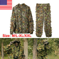 3D Ghillie Suit Set Sniper Train Leaf Jungle Forest Hunting Hooded Camouflage US