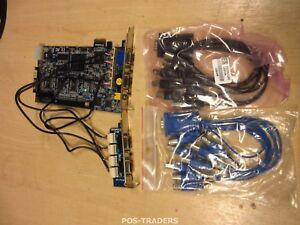 Geovision GV1480AS 16 Ch PCI-E DVR VGA Capture Card & CABLES & 2-PORT GV 1480AS