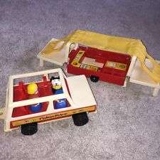 Vintage 1979 Fisher Price Play Family Car & Fold Up Camper Trailer Tent VGC
