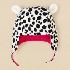 The Children's Place NWT Baby Girl Fleece Hat Sz 12-18 Mons, Dalmatian White/Bla