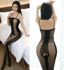 Bodystocking Cavallo Aperto Velato Open Crotch Body Stocking Strisce Lingerie