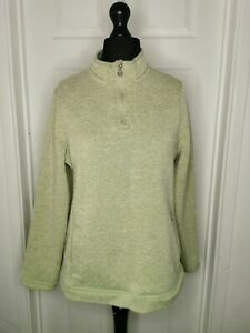 WEIRD FISH Ladies Jumper Fleece Green 1/4 Zip UK 18 Long Sleeve