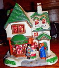 """RARE Christmas COLLECTIBLE! BOOK SHOP  Porcelain Village 5""""x5.5""""x4"""""""