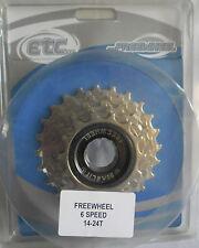 ETC 6 Speed Freewheel Bike / Cycle Cassette 14/24 T Nickel Plated