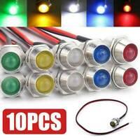 10Pcs 12V 8mm LED Indicator Light Lamp Bulb  Dash Panel Car Truck Boat UK~
