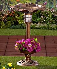 The Lakeside Collection Bronze Solar Lighted Birdbath with Planter