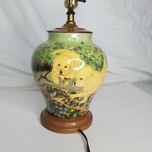 Vintage Hand Painted Wood Labrador Puppy Dog Garden Floral Scene Table Lamp