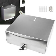 Wall Mounted Stainless Steel C Fold Paper Towel Dispenser Storager Lock Toilet