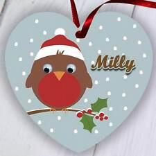 Adornos De Navidad árbol Decoración Personalizados-Corazón-Marrón Robin