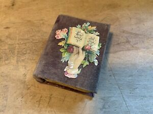 Antique Velvet Covered Cardboard Sewing Keepsake Jewelry Box with Needle Holder