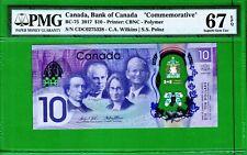 Canada - 2017 Bank of Canada $10 Dollars BC-75 PMG67 Superb Gem UNC EPQ