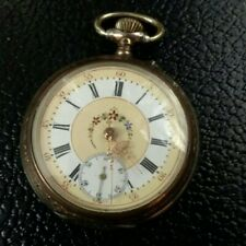 or 12 with beautiful colored dial Swiss Made Pocket Watch Size 10