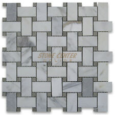 Calacatta Gold Calcutta Marble Basketweave Mosaic Tile Gray Dots 1 x 2 Polished