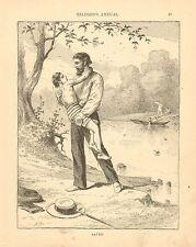 Lifesaving, Rescue, Swimming, Child, Original, Vintage, Antique Art Print, 1886