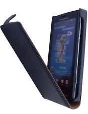 Etui Slim Luxy en cuir noir pour Sony Ericsson Vivaz