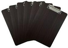 Clipboard Dark Grain Vinyl Surface Low Profile Clip Hardboard Single (Pack of 6)