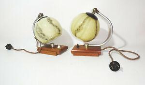 2 Vintage Night Table Lamp Art Deco 1940/50 Lamps Lights
