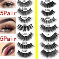SKONHED 5 Pairs 3D Mink Hair False Eyelashes Thick Wispy Lashes Natural Cross LK