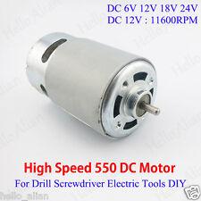 High Speed 550 DC Motor DC 6V-24V 12V for Drill Screwdriver Electric Tools DIY