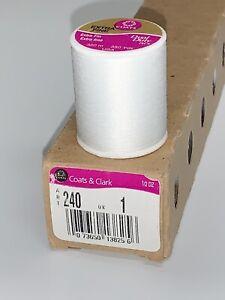 6 Spools Coats & Clark Thread 350y. ART240 QK1 Extra Fine Dual Duty White