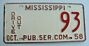 """MISSISSIPPI 1958 LOW NUMBER DRIVE OUT LICENSE PLATE """" 93 """" ORIGINAL COND 2 DIGIT"""