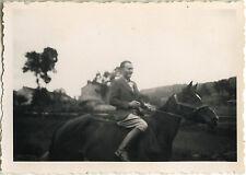 PHOTO ANCIENNE - VINTAGE SNAPSHOT - CHEVAL CAVALIER MODE ÉLÉGANCE -HORSE FASHION