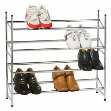 4 TIER CHROME METAL EXTENDING SHOE RACK STAND ORGANISER HOLDS 20 PAIRS OF SHOES