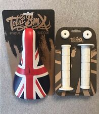 NEW Total Brit Pivotal BMX Seat & White Grips Union Jack Slim Stranger Primo BSD